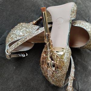 Bigtree Gold Embellished Ankle Strap Heels NWT